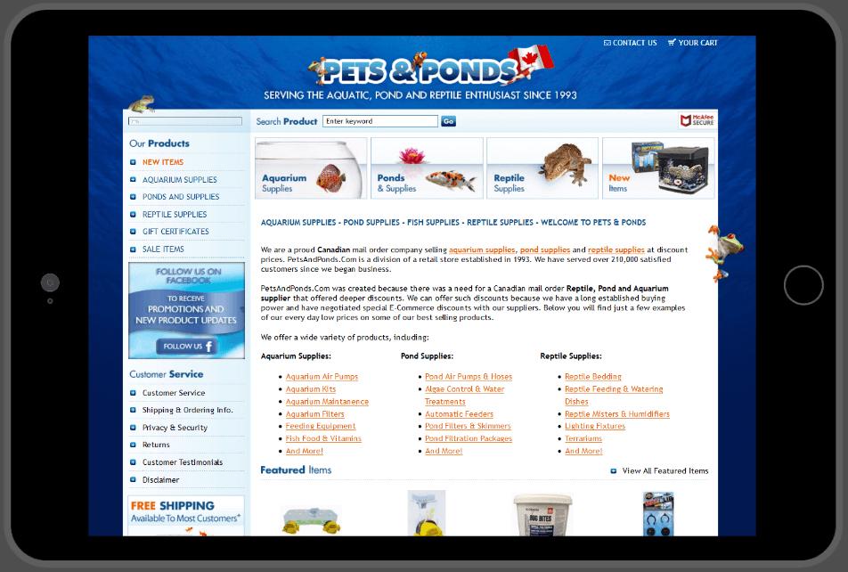 website in tablet screenshot